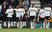 Derby County's Mason Mount celebrates scoring his side's fourth goal and completing a personal hat-trick<br /> <br /> Photographer Andrew Kearns/CameraSport<br /> <br /> The EFL Sky Bet Championship - Derby County v Bolton Wanderers - Saturday 13th April 2019 - Pride Park - Derby<br /> <br /> World Copyright &copy; 2019 CameraSport. All rights reserved. 43 Linden Ave. Countesthorpe. Leicester. England. LE8 5PG - Tel: +44 (0) 116 277 4147 - admin@camerasport.com - www.camerasport.com