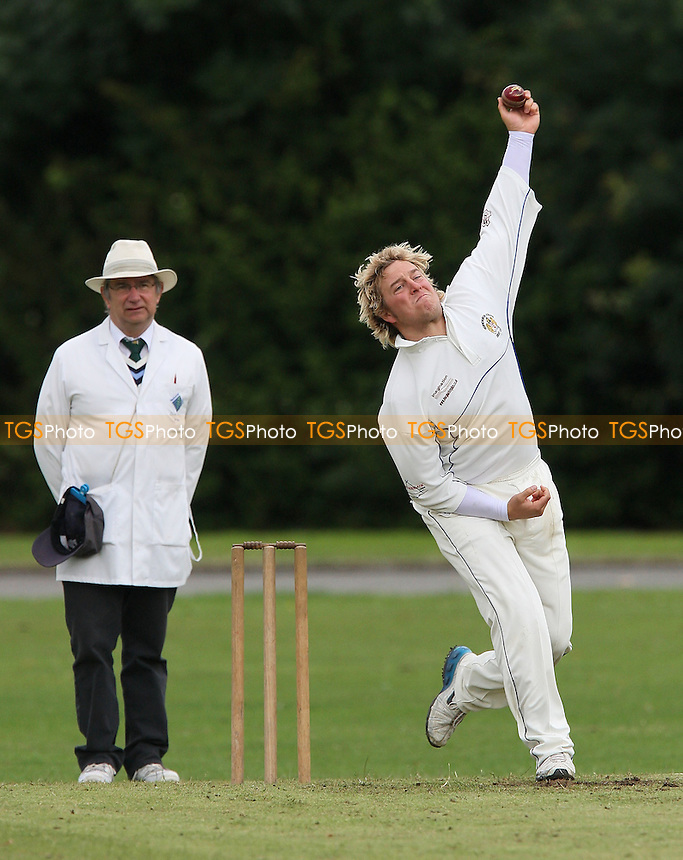P Humphries in bowling action for Hornchurch Ath - Hornchurch Athletic CC vs Leyton County CC - Lords International Cricket League at Hylands Park - 12/07/08 - MANDATORY CREDIT: Gavin Ellis/TGSPHOTO - Self billing applies where appropriate - Tel: 0845 094 6026.