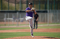 Colorado Rockies relief pitcher Lucas Gilbreath (67) during a Minor League Spring Training game against the Chicago Cubs at Sloan Park on March 27, 2018 in Mesa, Arizona. (Zachary Lucy/Four Seam Images)