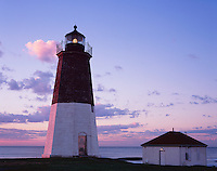 Rhode Island Sound, RI<br /> Sunrise light on Point Judith Lighthouse (1857, tower 51ft), Narraganset