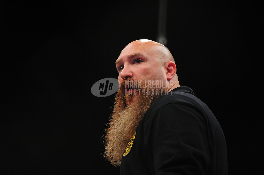 Apr. 9, 2011; San Diego, CA, USA; Strikeforce referee Mike Beltran during an undercard bout at the Valley View Casino Center.  Mandatory Credit: Mark J. Rebilas-