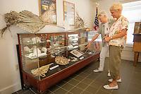 Susan Waites, Fort Myers, points out item in antique display case to her friend Loretta Pinkett, Bonita, in exhibit room by Bonita Springs Historical Society at Liles Hotel, Bonita Springs, Florida, Dec. 22, 2011. Photo by Debi Pittman Wilkey.