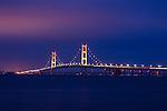 The Majestic Mackinaw Bridge At Night, Spanning Michigan's Upper And Lower Peninsulas, Michigan, USA
