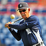 15 March 2009: Detroit Tigers' Manager Jim Leyland hits infield grounders to his players prior to a Spring Training game against the Washington Nationals at Space Coast Stadium in Viera, Florida. The Tigers shut out the Nationals 3-0 in the Grapefruit League matchup. Mandatory Photo Credit: Ed Wolfstein Photo