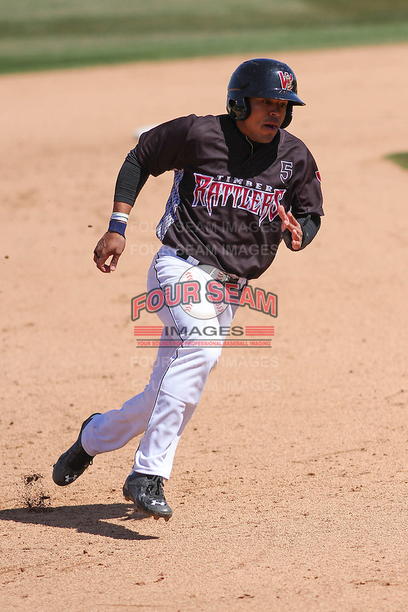 Wisconsin Timber Rattlers outfielder Brandon Diaz (5) rounds the bases during a game against the Peoria Chiefs on April 25th, 2015 at Fox Cities Stadium in Appleton, Wisconsin.  Wisconsin defeated Peoria 2-0.  (Brad Krause/Four Seam Images)