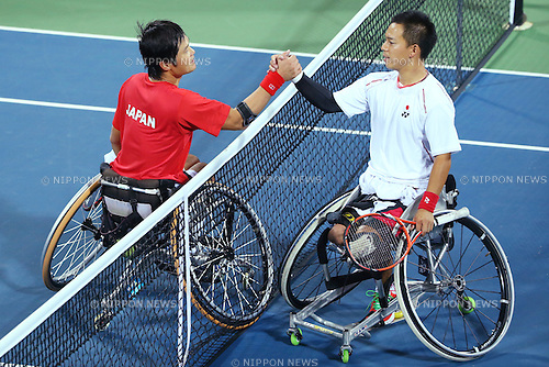 (L-R)<br /> Shingo Kunieda (JPN),<br /> Takashi Sanada (JPN),<br /> OCTOBER 23, 2014 -  WheelChair Tennis : <br /> Men's Singles Final<br /> at Yeorumul Tennis Courts<br /> during the 2014 Incheon Asian Para Games <br /> in Incheon, South Korea. <br /> (Photo by Shingo Ito/AFLO SPORT)