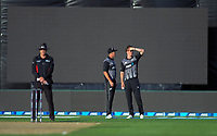 NZ captain Tim Southee chats with Blair Tickner during the 4th Twenty20 International cricket match between NZ Black Caps and England at McLean Park in Napier, New Zealand on Friday, 8 November 2019. Photo: Dave Lintott / lintottphoto.co.nz