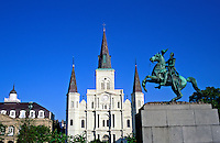 USA,Louisiana, New Orleans, St Louis Cathedral, Jackson Square and Cabild