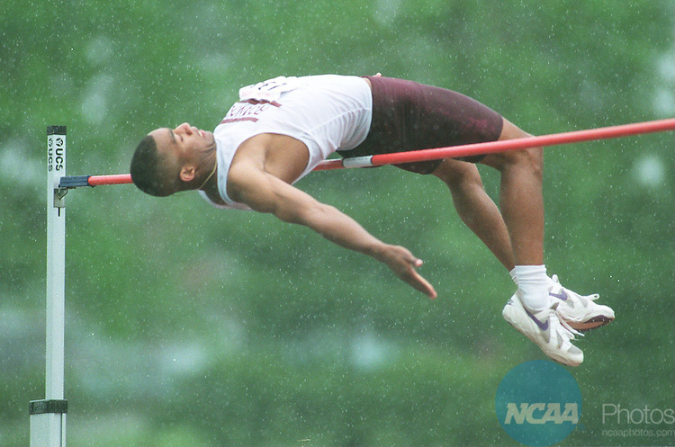Caption:  Courtney Fitch of Roanoke College flies high over the high-jump bar at the Division III Menâ and Womenâ Outdoor Track and Field Championships May 27, 1995 in Northfield, Minnesota. Andy King/NCAA photos.