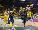 "02.06.2019, EWE Arena, Oldenburg, GER, easy Credit-BBL, Playoffs, HF Spiel 1, EWE Baskets Oldenburg vs ALBA Berlin, im Bild<br /> William""Will"" CUMMINGS (EWE Baskets Oldenburg #3 ) <br /> Johannes TIEMANN (ALBA Berlin #32 ) Joshiko SAIBOU (ALBA Berlin #1 ) <br /> Foto © nordphoto / Rojahn"