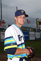 Oliver Jaskie (46) of the Everett AquaSox poses for a photo before a game against the Boise Hawks at Everett Memorial Stadium on July 21, 2017 in Everett, Washington. Everett defeated Boise, 10-4. (Larry Goren/Four Seam Images)