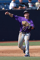 Davy Wright #3 of the TCU Horned Frogs makes a throw against the Cal State Fullerton Titans at Goodwin Field on February 26, 2012 in Fullerton,California. Fullerton defeated TCU 11-10.(Larry Goren/Four Seam Images)