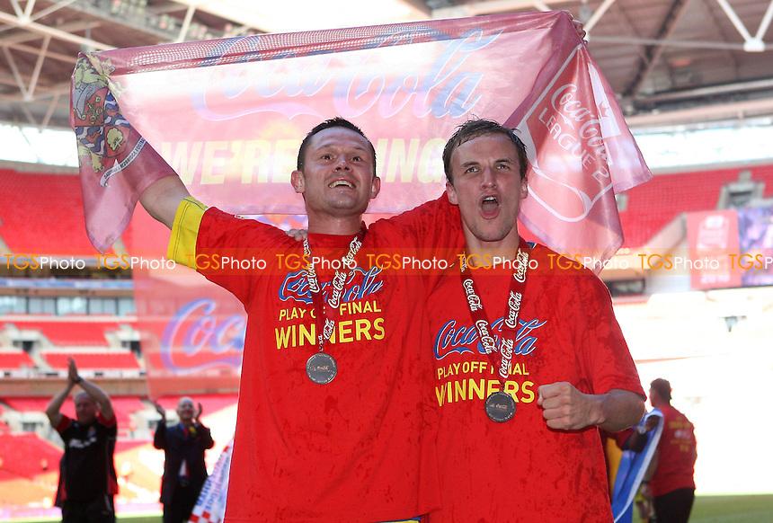 Mark Arber (L) and Damien McCrory celebrate victory for Dagenham - Dagenham & Redbridge vs Rotherham United - Coca Cola League Two Play-Off Final at Wembley Stadium -  30/05/10 - MANDATORY CREDIT: Gavin Ellis/TGSPHOTO - Self billing applies where appropriate - Tel: 0845 094 6026