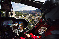 "Switzerland. Canton Ticino. Lugano. Ospedale Civico. A Rega Agusta AW109 SP Grand ""Da Vinci"" helicopter on its landing arrival at the hospital, Ospedale Civico. The Rega has rescued an injured worker during a logging operation. All Rega helicopters carry a crew of three: a pilot, an emergency physician, and a paramedic who is also trained to assist the pilot for radio communication, navigation, terrain/object avoidance, and winch operations. The name Rega was created by combining letters from the name ""Swiss Air Rescue Guard"" as it was written in German (Schweizerische Rettungsflugwacht), French (Garde Aérienne Suisse de Sauvetage), and Italian (Guardia Aerea Svizzera di Soccorso). Rega is a private, non-profit air rescue service that provides emergency medical assistance in Switzerland. Rega mainly assists with mountain rescues, though it will also operate in other terrains when needed, most notably during life-threatening emergencies. As a non-profit foundation, Rega does not receive financial assistance from any government. The AgustaWestland AW109 is a lightweight, twin-engine, helicopter built by the Italian manufacturer Leonardo S.p.A. (formerly AgustaWestland, Leonardo-Finmeccanica and Finmeccanica). Leonardo S.p.A is an Italian global high-tech company and one of the key players in aerospace. In close collaboration with the manufacturer, the Da Vinci has been specially designed to cater for Rega's particular requirements as regards carrying out operations in the mountains. It optimally fulfills the high demands made of it in terms of flying characteristics, emergency medical equipment and maintenance. Safety, performance and space have been increased, and maintenance and noise emissions reduced. 19.09.2017 © 2017 Didier Ruef"