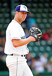 25 July 2010: Vermont Lake Monsters pitcher Glenn Gibson warms up in the bullpen during a game against the Tri-City ValleyCats at Centennial Field in Burlington, Vermont. The ValleyCats came from behind to defeat the Lake Monsters 10-8 in NY Penn League action. Mandatory Credit: Ed Wolfstein Photo