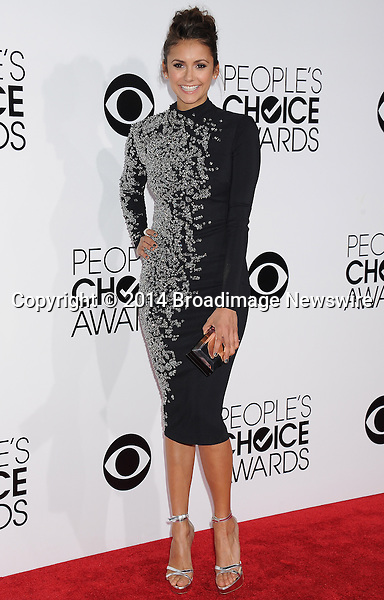 Pictured: Nina Dobrev<br /> Mandatory Credit &copy; Gilbert Flores /Broadimage<br /> 2014 People's Choice Awards <br /> <br /> 1/8/14, Los Angeles, California, United States of America<br /> Reference: 010814_GFLA_BDG_231<br /> <br /> Broadimage Newswire<br /> Los Angeles 1+  (310) 301-1027<br /> New York      1+  (646) 827-9134<br /> sales@broadimage.com<br /> http://www.broadimage.com