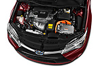 Car stock 2015 Toyota camry hybrid 4 Door Sedan engine high angle detail view