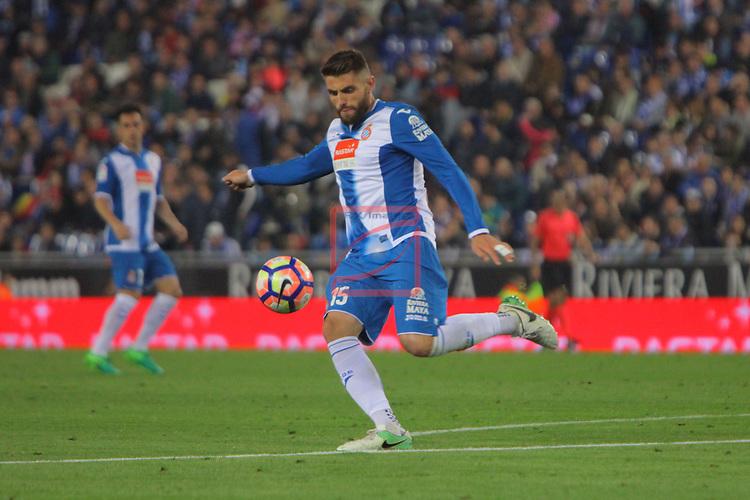 League Santander 2016/2017. Game: 33.<br /> RCD Espanyol vs Atletico de Madrid: 0-1.<br /> David Lopez.