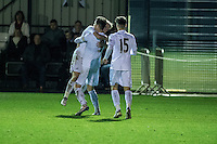 Friday  16 December 2014<br /> Pictured:  Swansea City celebrates  their Second Half Goal <br /> Re: Swansea City U18s v Wolverhampton Wonderers U18s, 3rd Round FA youth Cup Match at the Landore Training Facility, Swansea, Wales, UK