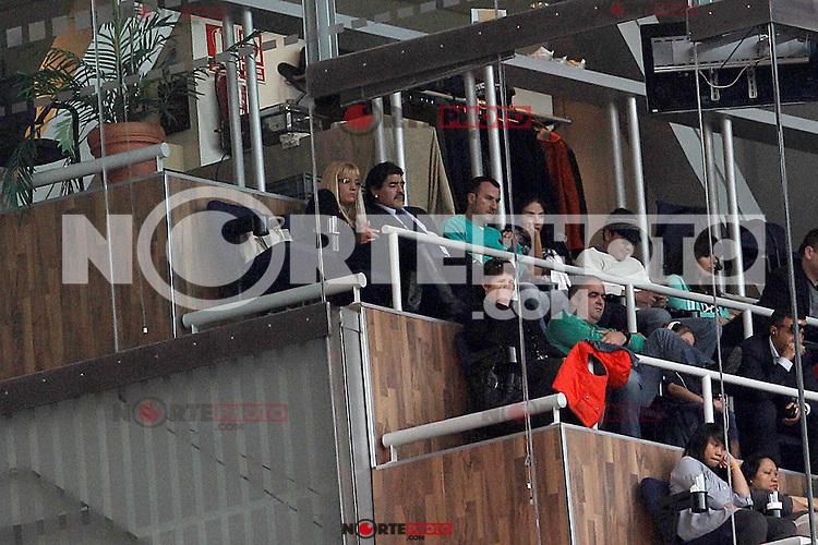 Football star Diego Armando Maradona with his new girlfriend Rocio Geraldine Oliva in the presence of parents of Cristiano Ronaldo during La Liga match.March 02,2013.(ALTERPHOTOS/Acero) /NortePhoto