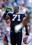 30 September 2007: Buffalo Bills offensive lineman Jason Peters refreshes during a time out against the New York Jets at Ralph Wilson Stadium in Orchard Park, NY. The Bills defeated the Jets 17-14 for their first win of the 2007 season...Mandatory Photo Credit: Ed Wolfstein Photo