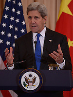 Washington, DC - February 23, 2016: U.S. Secretary of State John Kerry holds a press availability after a bilateral meeting with Chinese Foreign Minster Wang Yi at the U.S. Department of State in the District of Columbia, February 23, 2016.  (Photo by Don Baxter/Media Images International)
