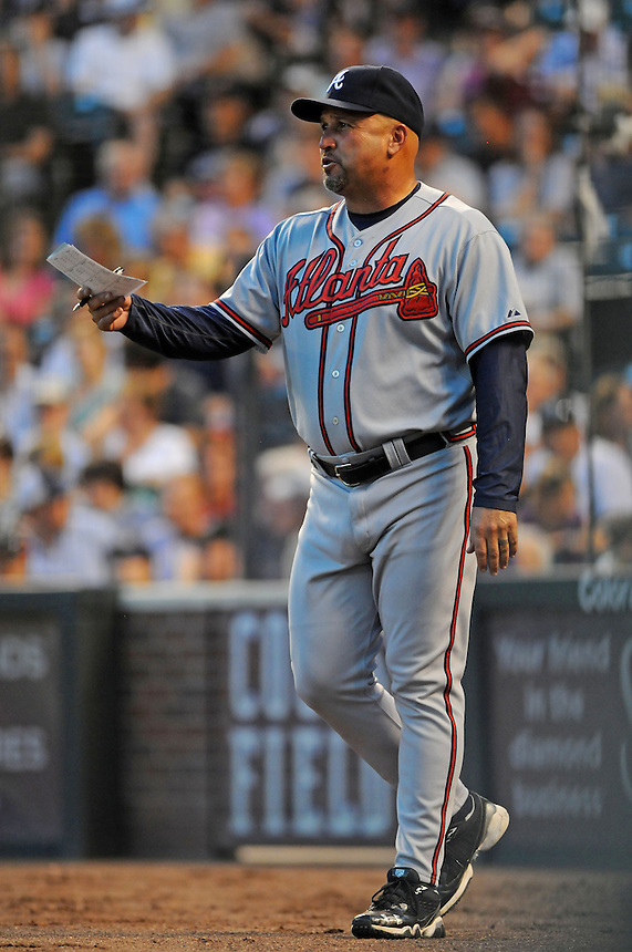 18 JULY 2011:   Atlanta Braves manager Fredi Gonzalez (33) has his lineup card in hand during a regular season game between the Atlanta Braves and the Colorado Rockies at Coors Field in Denver, Colorado. The Braves beat the Rockies 7-4. *****For Editorial Use Only*****