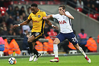 Shawn McCoulsky of Newport County is challenged by Harry Winks of Tottenham Hotspur during the Fly Emirates FA Cup Fourth Round Replay match between Tottenham Hotspur and Newport County at Wembley Stadium, London, England, UK. 07 February 2018
