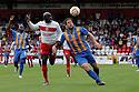 Patrick Agyemang of Stevenage and Darren Jones of Shrewsbury give chase.  Stevenage v Shrewsbury Town - npower League 1 -  Lamex Stadium, Stevenage - 1st September, 2012. © Kevin Coleman 2012.