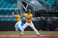 Caleb Webster (1) of the UNCG Spartans at bat against the San Diego State Aztecs at Springs Brooks Stadium on February 16, 2020 in Conway, South Carolina. The Spartans defeated the Aztecs 11-4.  (Brian Westerholt/Four Seam Images)