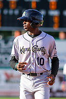 Kane County Cougars outfielder Anfernee Grier (10) during game one of a Midwest League doubleheader against the Wisconsin Timber Rattlers on June 23, 2017 at Fox Cities Stadium in Appleton, Wisconsin.  Kane County defeated Wisconsin 4-3. (Brad Krause/Krause Sports Photography)