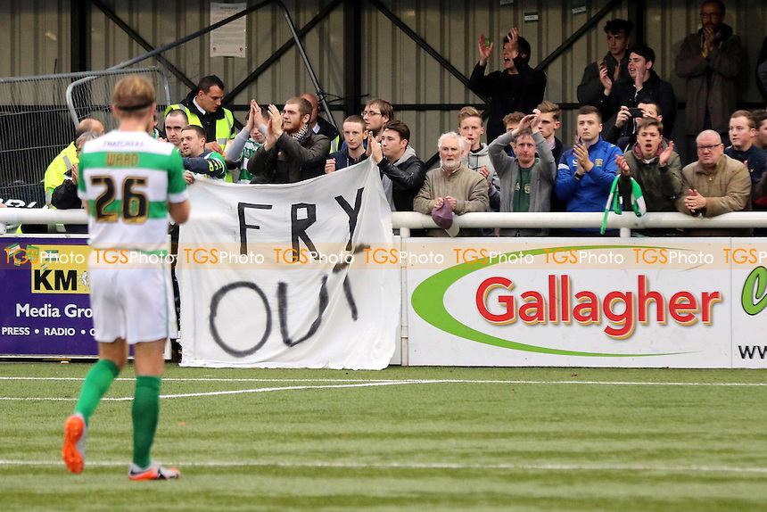 Yeovil fans display a banner 'Fry Out' as Darren Ward applauds them at the end of the match during Maidstone United  vs Yeovil Town, Emirates FA Cup Football at the Gallagher Stadium, Maidstone, England on 08/11/2015