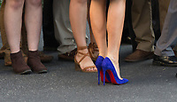 Close-up of first lady Melania Trump's blue shoes as she greets well wishers before departing the White House in Washington, DC, November 3, 2017 for a multi-day trip to Hawaii and then on to Asia.<br /> Credit: Chris Kleponis / CNP /MediaPunch