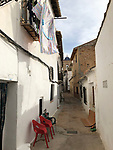 Requena-Valencia-Spain, January 09, 2018; <br /> narrow alley in the old town - historic centre;<br /> Photo © HorstWagner.eu