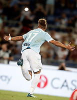 Calcio, Football - Juventus vs Lazio Italian Super Cup Final  <br /> Lazio's Ciro Immobile celebrates after scoring during the Italian Super Cup Final football match between Juventus and Lazio at Rome's Olympic stadium, on August 13, 2017.<br /> UPDATE IMAGES PRESS/Isabella Bonotto