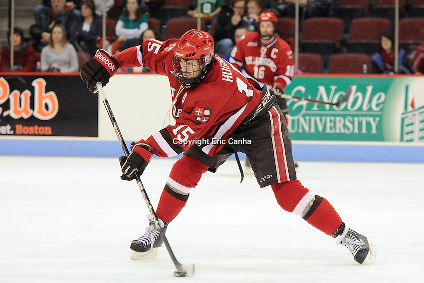 Saint Lawrence Saints defenseman George Hughes (15) during the Saint Lawrence vs Boston University NCAA hockey game played at the Agganis Arena, in Boston Massachusetts.  Eric Canha/CSM