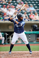 Columbus Clippers first baseman Nellie Rodriguez (25) at bat during a game against the Gwinnett Stripers on May 17, 2018 at Huntington Park in Columbus, Ohio.  Gwinnett defeated Columbus 6-0.  (Mike Janes/Four Seam Images)