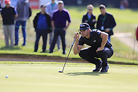 Haydn Porteous (RSA) lines up his putt on the 17th green during Thursday's Round 1 of the 2017 Omega European Masters held at Golf Club Crans-Sur-Sierre, Crans Montana, Switzerland. 7th September 2017.<br /> Picture: Eoin Clarke | Golffile<br /> <br /> <br /> All photos usage must carry mandatory copyright credit (&copy; Golffile | Eoin Clarke)