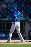 Brandon Snyder (7) of the Durham Bulls at bat against the Charlotte Knights at BB&T BallPark on July 4, 2018 in Charlotte, North Carolina. The Knights defeated the Bulls 4-2.  (Brian Westerholt/Four Seam Images)