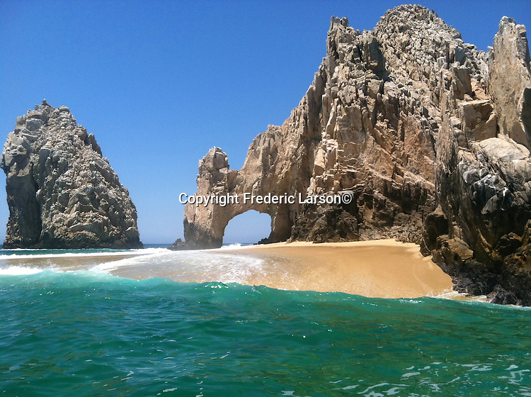 The famous arch at Land's End in Cabo San Lucas is only a beach you can walk on every four years as its covered in water.