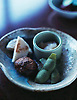 Ikkyu-an, dish with chestnuts & whole pea pod.