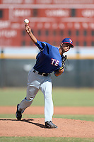 Texas Rangers pitcher Omarlin Lopez (74) during an Instructional League game against the Cincinnati Reds on October 7, 2013 at Goodyear Training Complex in Goodyear, Arizona.  (Mike Janes/Four Seam Images)