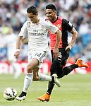 Real Madrid's Javier Chicharito Hernandez (l) and Almeria's Mauro Dos Santos during La Liga match. April 29,2015. (ALTERPHOTOS/Acero)