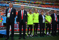 Spain coach Vicente Del Bosque and his backroom staff