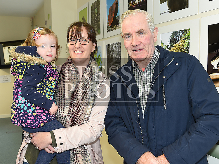 Sarah and Kate McGee and Sean Dolan at Ardee Photography Club's first exhibition held in the DEE Hub. Photo:Colin Bell/pressphotos.ie