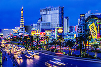 "Las Vegas, Nevada.  Las Vegas Boulevard (""The Strip"") after Sunset."