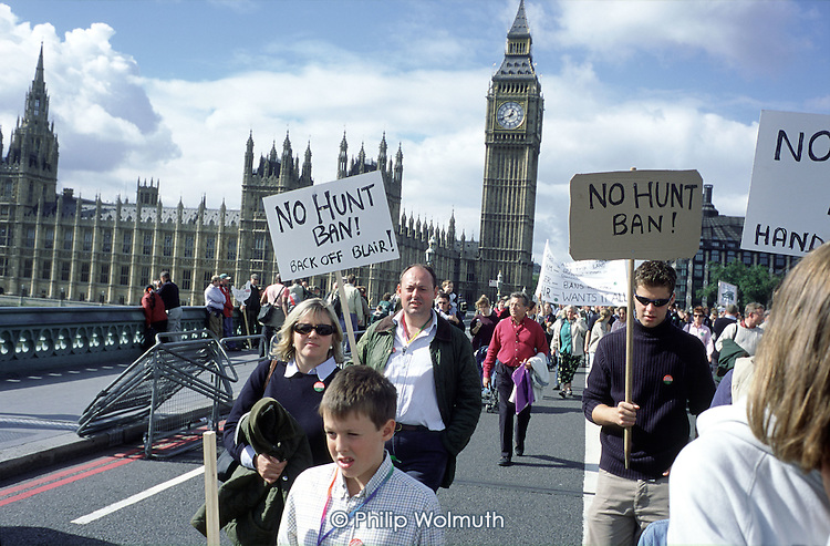 March through London organised by the Countryside Alliance to protest at a proposed ban on hunting with dogs.