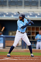 Charlotte Stone Crabs Izzy Wilson (9) bats during a Florida State League game against the Bradenton Maruaders on August 7, 2019 at Charlotte Sports Park in Port Charlotte, Florida.  Charlotte defeated Bradenton 2-0 in the first game of a doubleheader.  (Mike Janes/Four Seam Images)