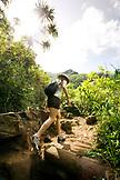 USA, Hawaii, Kauai, Woman Hiking the Napali Coast