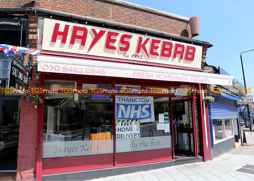 Hayes Kebab Shop, on the outskirts of Bromley is now open for takeaways and offers a free home delivery service. A large sign in the window reads Thank You NHS. The Kent COVID-19 pandemic continues to have a severe impact throughout Kent on 21st May 2020
